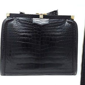 Handbags - Lederer De Paris Crocodile Leather Black Tote